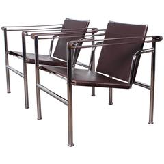 pair of lc1 chairs by le corbusier