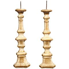 Pair of 19th Century French Carved and Gilt Altar Sticks with Engraving Decor