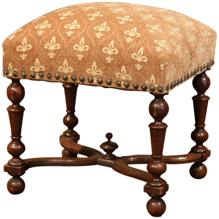Marvelous 19th Century French Louis XIII Carved Walnut Stool With New Fleur De Lys  Fabric
