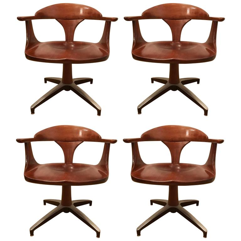 Four Heywood Wakefield Cliff House 1960s Hardwood Chairs 1