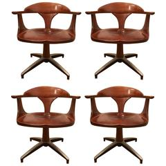 Four Heywood Wakefield Cliff House 1960s Hardwood Chairs