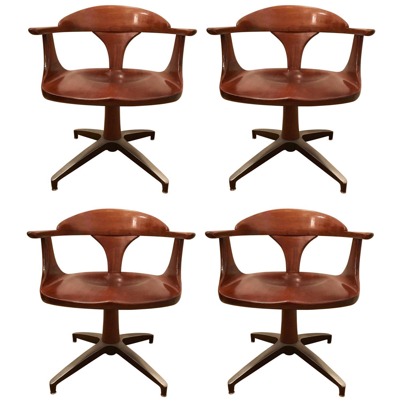 Four Heywood Wakefield Cliff House 1960s Hardwood Chairs