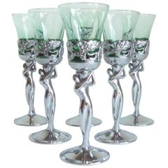 Set of Six Japanese Art Deco Chrome & Green Glass Androgynous Nude Liqueur Cups