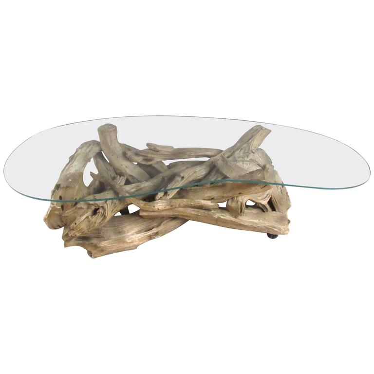 Mid Century Driftwood Coffee Table For Sale