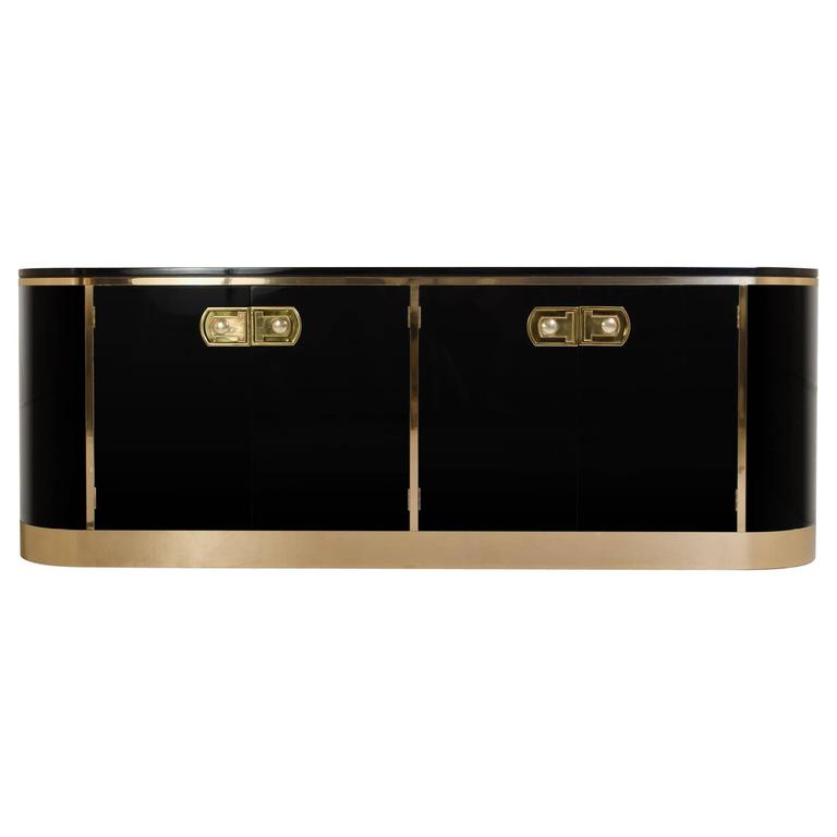 Ebony Lacquer and Polished Brass Credenza by Mastercraft