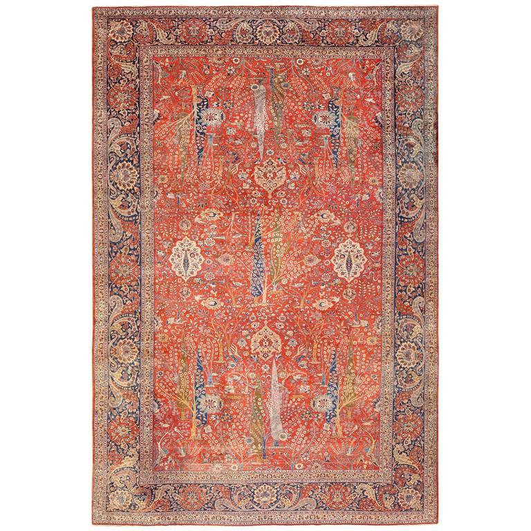 Large Animal Motif Antique Tabriz Persian Rug