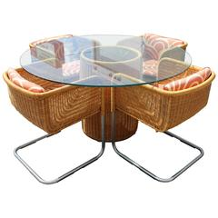 Mid-Century Modern Harvey Probber Wicker Patio Set Table and Four Basket Chairs