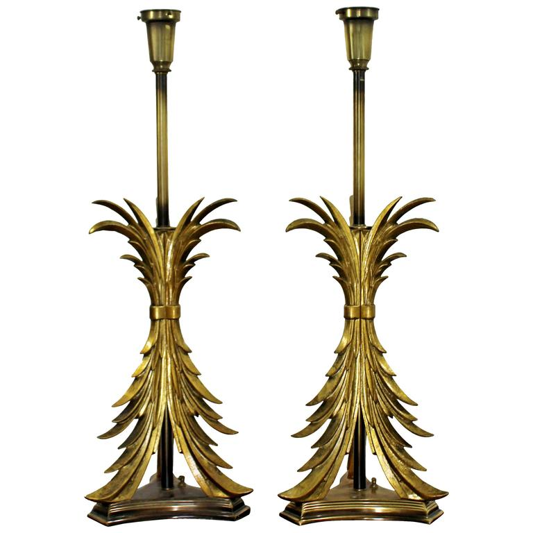 Hollywood Regency Pair of Solid Brass Ornate Chapman Table Lamps, 1980s For Sale