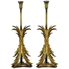Hollywood Regency Pair of Solid Brass Ornate Chapman Table Lamps, 1980s