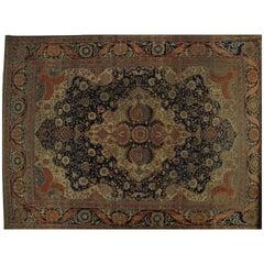 Antique Persian Mohtasham Kashan Rug, Handmade Oriental Rug, Ivory, Navy, Orange