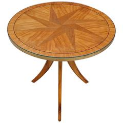 Tripod Side Table with Star Inlay in the Style of Josef Frank, Mid-20th Century