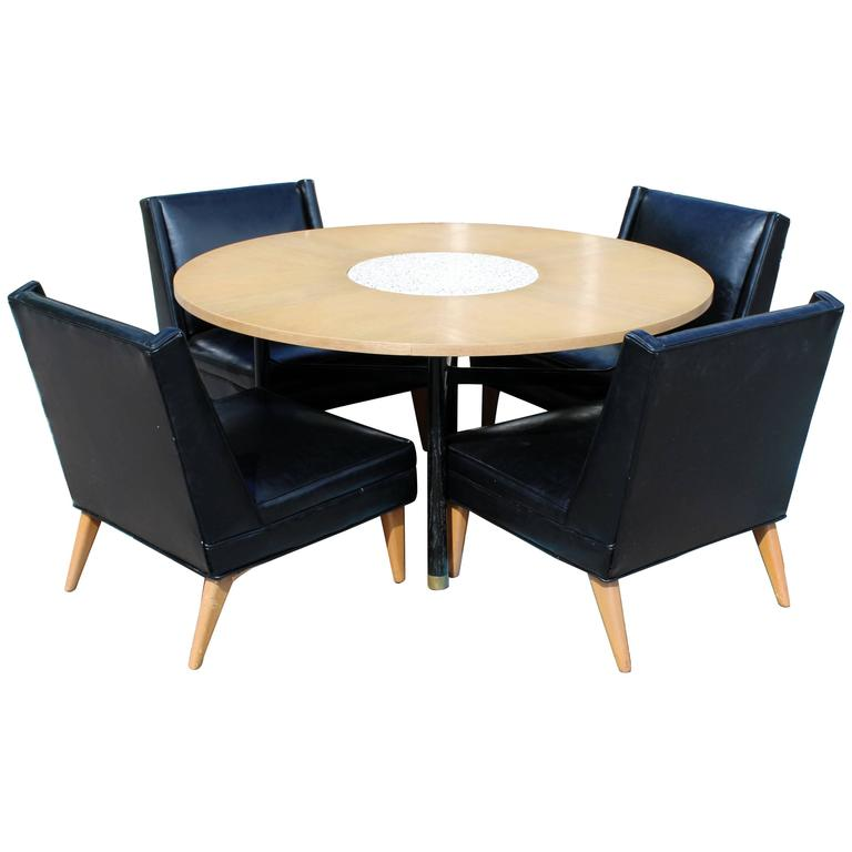Mid Century Modern Harvey Probber Game Table And Set Four Slipper Chairs At 1stdibs