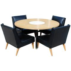 Mid-Century Modern Harvey Probber Game Table and Set Four Slipper Chairs