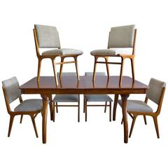 Peroba De Rosa Wood Dining Table and Chairs by Giuseppe Scapinelli, circa 1960