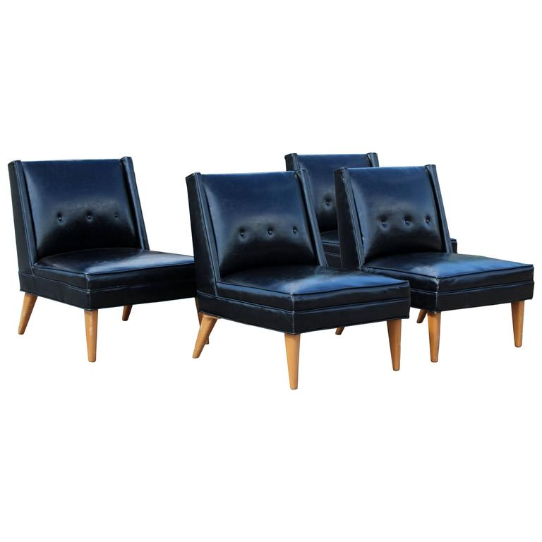 Mid Century Modern Pair Of Harvey Probber Slipper Side Chairs, 1960s For  Sale