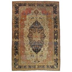Antique Persian Mohtasham Kashan Rug, Handmade Oriental Rug, Ivory, Navy, Rust