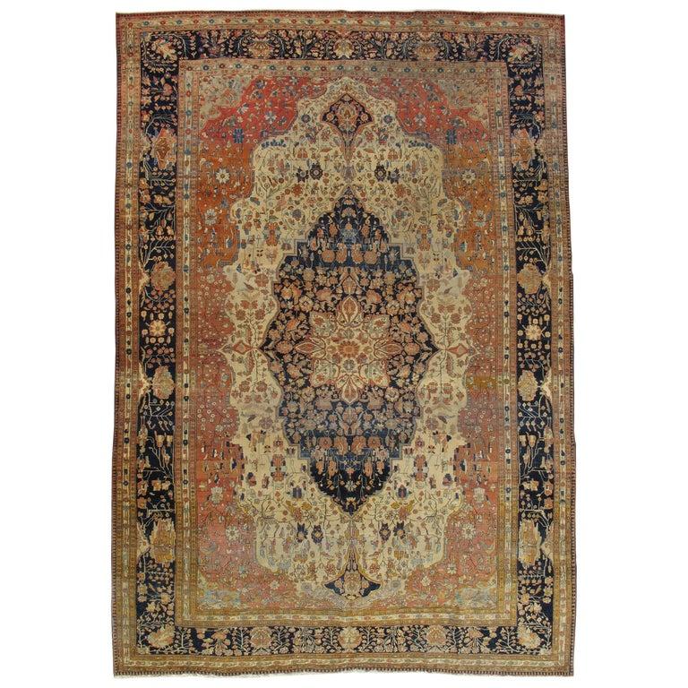 Antique Persian Mohtasham Kashan Rug, Handmade Oriental