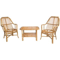 Three-Piece Bamboo Chairs and Table