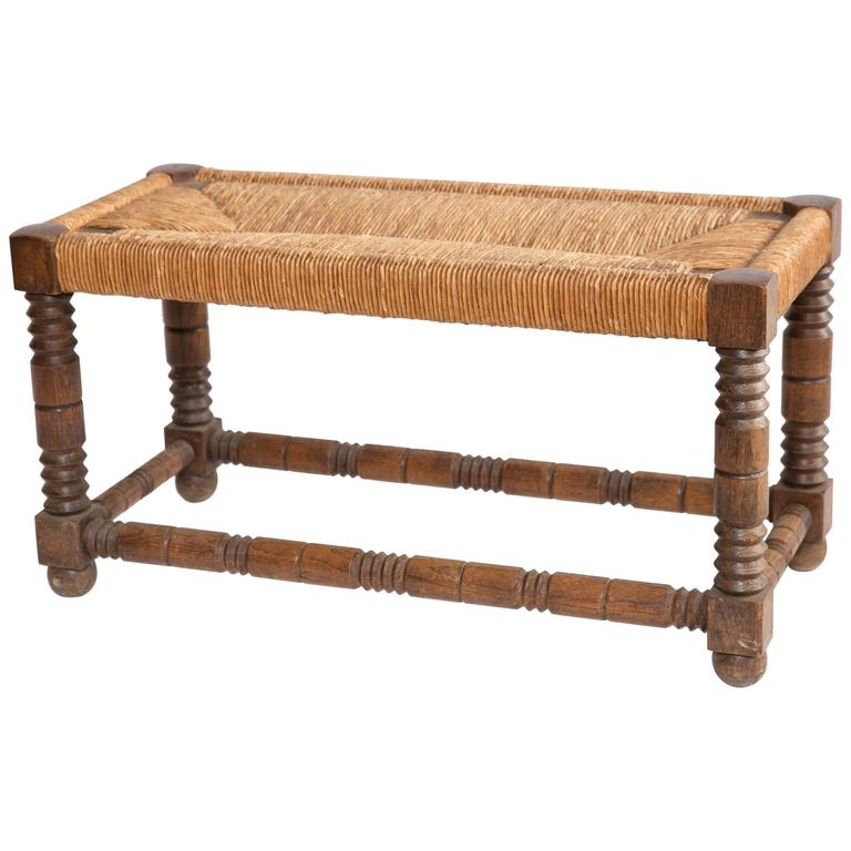 Rush Seat Bench From France At 1stdibs