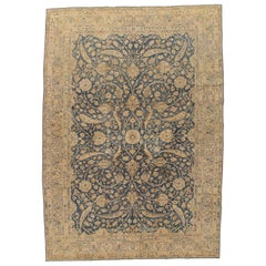 Antique Tabriz Carpet, Handmade Persian Rug in Floral Gold, Blue and Taupe