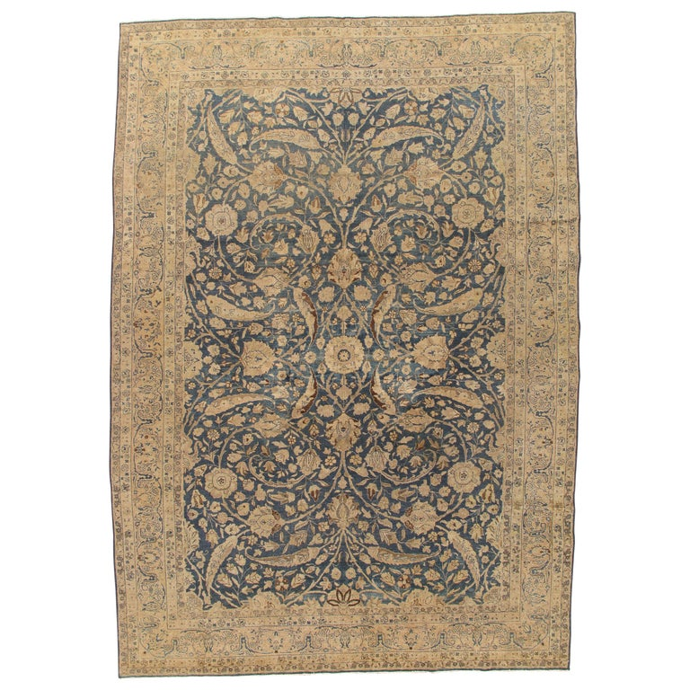 Antique Tabriz Carpet, Handmade Persian Rug in Floral Gold, Blue and Taupe For Sale