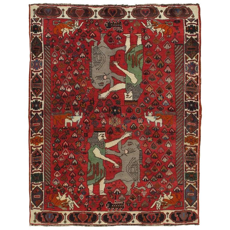 Vintage Shiraz Rug Nomadic Handmade Wool Rug Red Green