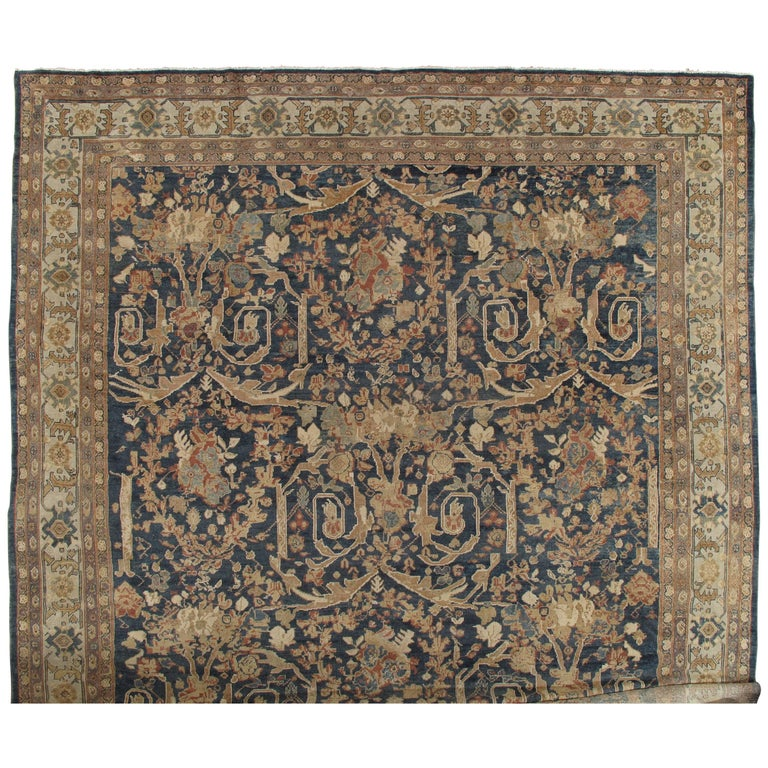 Antique Sultanabad Carpet, Persian Handmade Wool Rug, Soft Navy, Light Blue Ivor For Sale