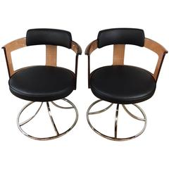 Acrylic Chrome and Leather Side Chairs
