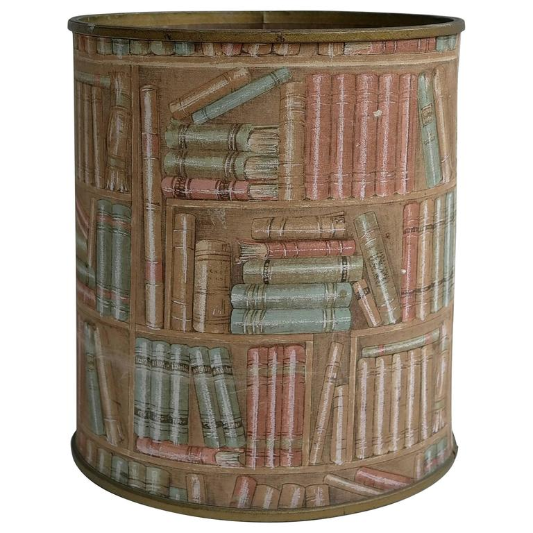 Wastebasket in Style of Piero Fornasetti, Lucari 1950s in Library Fabric