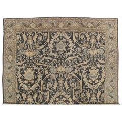 Antique Sultanabad, Handmade Wool Rug, Grey Blue, Ivory, Navy, Tan, Light Blue