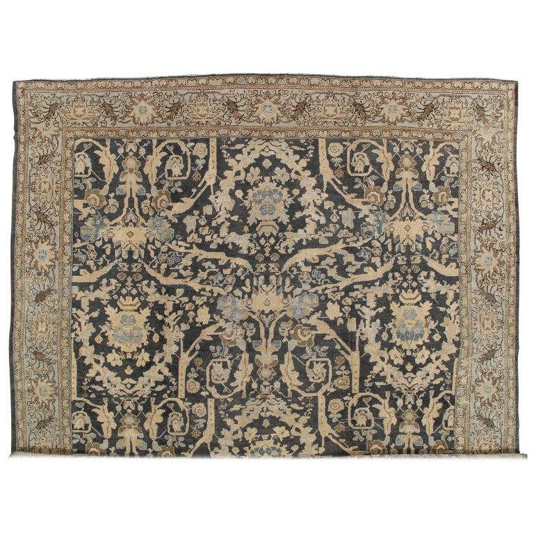 Antique Sultanabad, Handmade Wool Rug, Grey Blue, Ivory, Navy, Tan, Light Blue