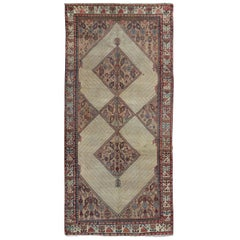 Antique Persian Serab Runner with Tribal Geometric Pattern in Camel, Red & Blue