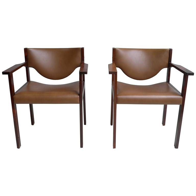 Pair of Danish Desk Chairs in Rosewood and Cognac Leather