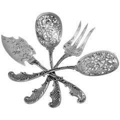 Bouton French sterling silver Hors D'oeuvre Dessert Set 4 pc box Rococo