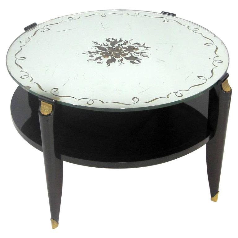 French Art Deco Coffee Table In Exotic Wood With Glomis Mirror Top For Sale At 1stdibs