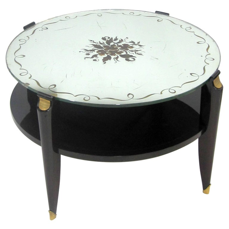 French Art Deco Coffee Table in Exotic Wood with Églomisé Mirror Top For Sale