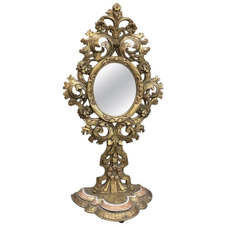 19th century italian baroque giltwood vanity mirror for On baroque vanity mirror