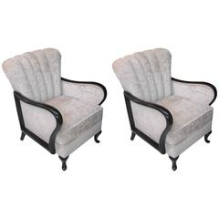 Pair of French Art Deco Mahogany Chairs