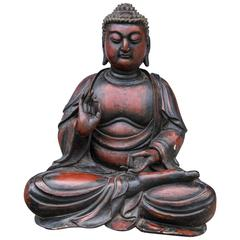 Seated Cross Legged Dark Red and Black Lacquer Asian Buddha
