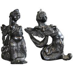 Pair of Italian Renaissance Bronze Female Figures