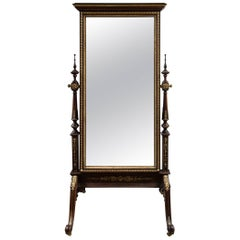 Late 19th Century French Mahogany Cheval Mirror
