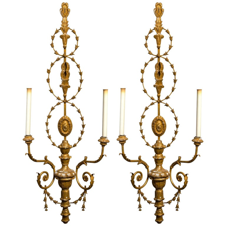 Elegant Pair of Neoclassical Carved Wood Two-Light Sconces