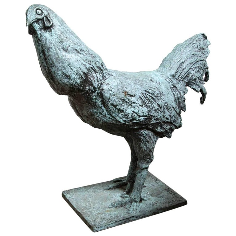 Bronze Rooster, Signed Carl Pappe For Sale