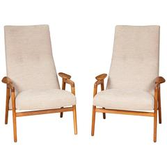 Pair of Mid-1960s Swedish Oak Easy Chairs by Yngve Ekström for Swedese
