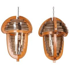 Pair of 1970s Danish Acorn Shaped Hanging Lanterns
