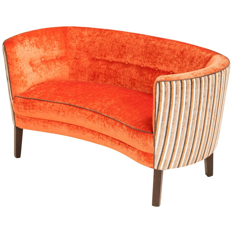 Canap sofa upholstered in orange for sale at 1stdibs for Canape for sale
