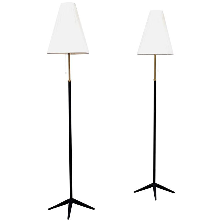 Pair of Swedish Floor Lamps by Böhlmarks, 1950s