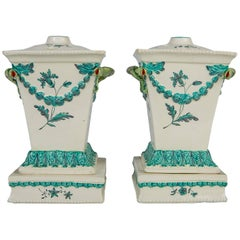 Creamware Pair of English Flower Holders, 18th Century circa 1780