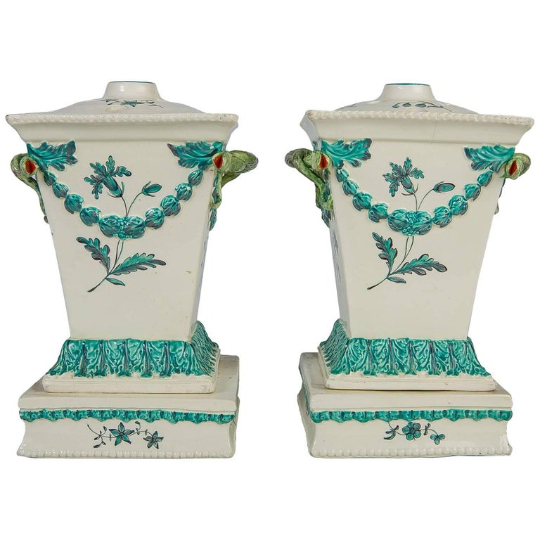 Creamware Pair of English Flower Holders, 18th Century For Sale