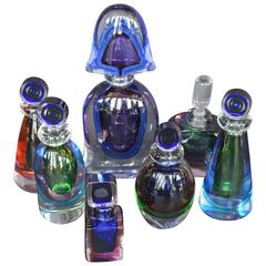 Collection of Seven Murano Glass Perfume Bottles